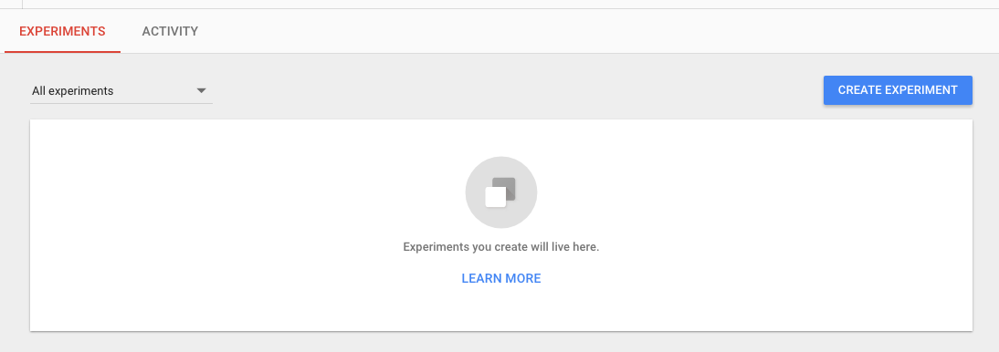 new experiment in google optimize