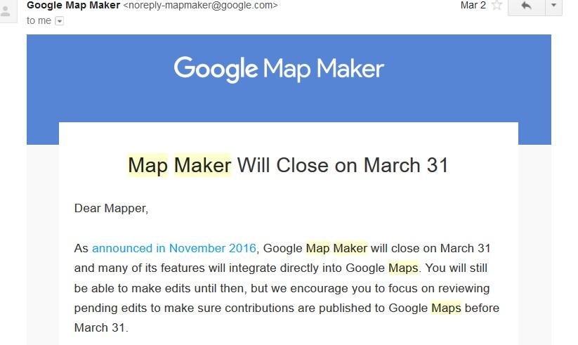 Google Map Maker close