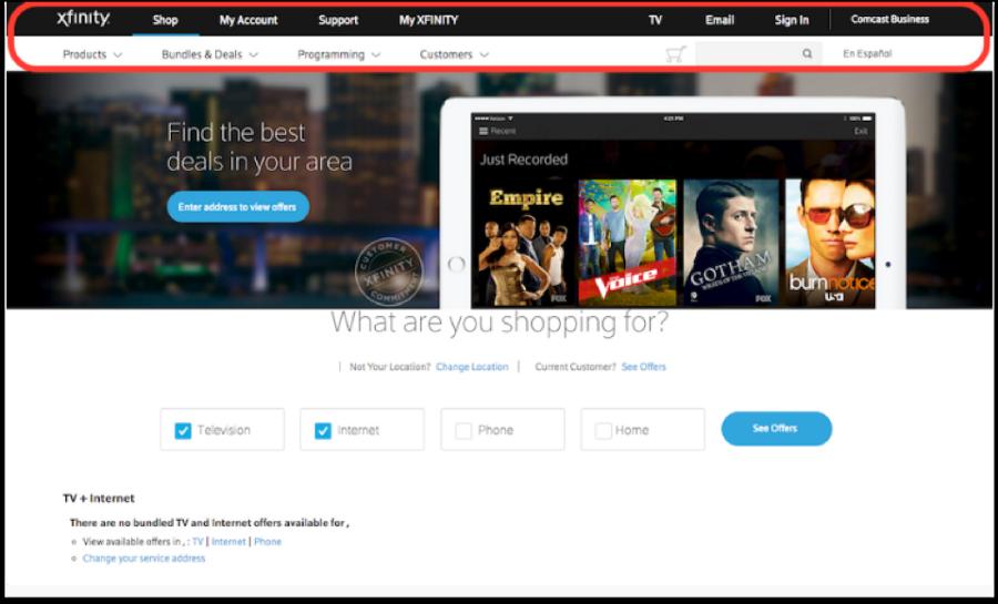 Xfinity Home Page