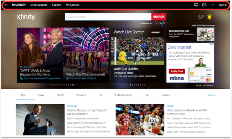 Xfinity Personal page