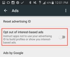 محدود کردن فرآیند زیرنظر گرفتن رفتار کاربر برای نمایش آگهی در دستگاههای اندرویدی